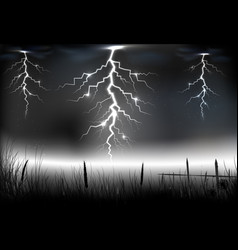 Lightning storm with on a dark background vector