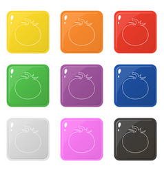 Line style tomato icons set 9 colors isolated on vector