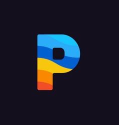 logo letter p colorful blue red orange vector image
