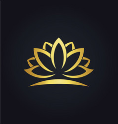 Lotus flower beauty gold logo vector