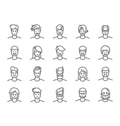 Man avatar line icon set vector