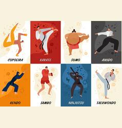Martial arts flat cards vector