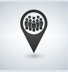 Meeting point location icon friends neardrop vector
