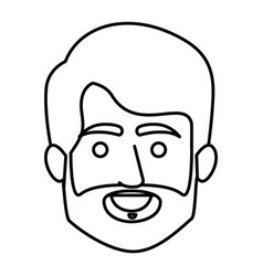 Monochrome contour of smiling elderly man face vector