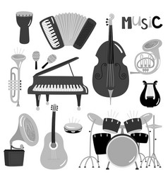 monochrome music instruments collection vector image