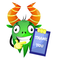 monster with thank you board on white background vector image