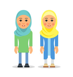 Muslim woman or arab woman cartoon character vector