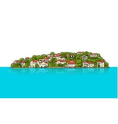 old european city mediterranean sea sketch for vector image