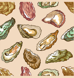 oysters seamless pattern sea delicatessen product vector image