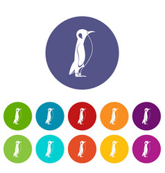 penguin icons set color vector image