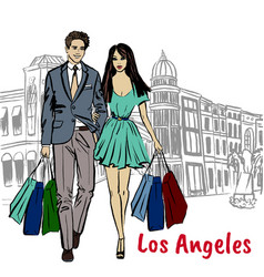 people on rodeo drive vector image