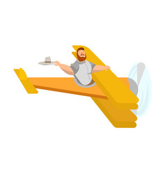 picture of a flying man in a plane with a vector image