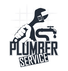 Plumber wrench in his hand symbol vector