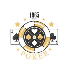 Poker logo design since 1965 emblem with gambling vector