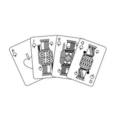 poker playing cards ace jack queen and king spade vector image