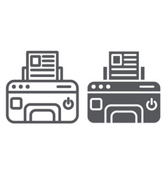 printer line and glyph icon device and print fax vector image