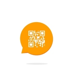 Qr code icon in orange speech bubble vector image