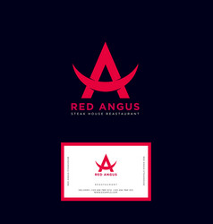 Red angus logo steakhouse emblem identity vector