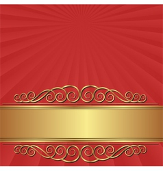 red background with vintage banner vector image