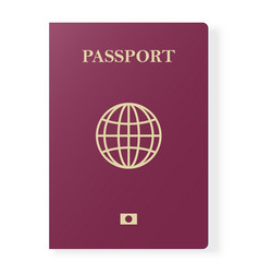 Red passport isolated on white international vector