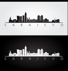 sarajevo skyline and landmarks silhouette vector image