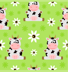 seamless background cartoon with cow vector image