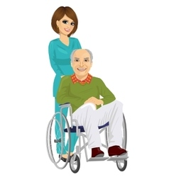 Senior patient in wheelchair with young nurse vector