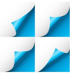 Set blue paper curls curled page corner vector
