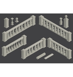 set of architectural element balustrade vector image