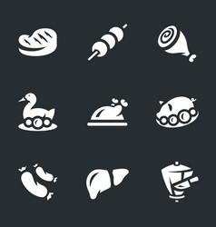 Set of meat food icons vector