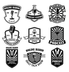 set of vintage podcast radio emblems with vector image