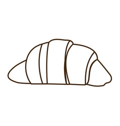 Silhouette croissant bread icon food vector