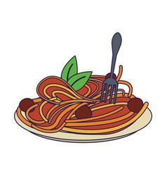 Spaghetti italian food blue lines vector
