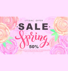 spring sale banner with rose flowers on black vector image