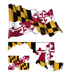 state maryland - map waving flat flag vector image