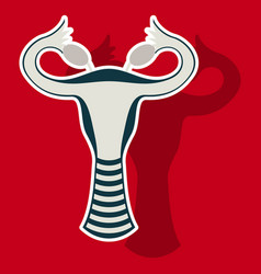 Sticker showing female reproductive system vector