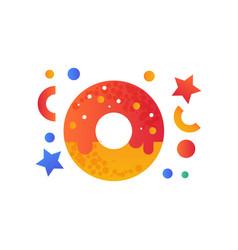 sweet glazed donut fast food dish vector image