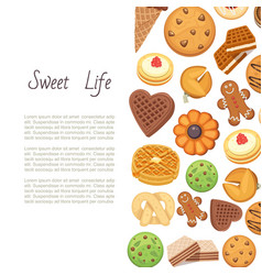 sweet life with cookies backgrund different vector image