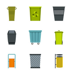 Trash bin icon set flat style vector