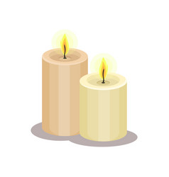 Two big candles with burning flame item for magic vector