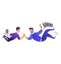 two men giving high five vector image