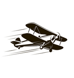 vintage flying aircraft airplane symbol retro vector image