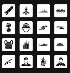 War icons set squares vector