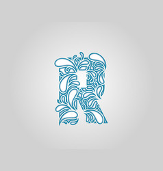 Water splash initial r letter logo icon vector