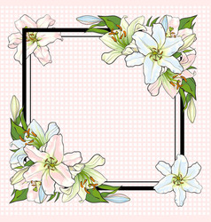 white lilies bouquet elements in sketch style at vector image