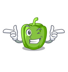 Wink green peppers on the table cartoon vector