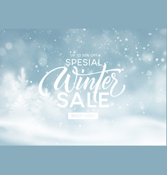 winter sale background template christmas winter vector image