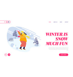winter season fun and outdoor leisure website vector image