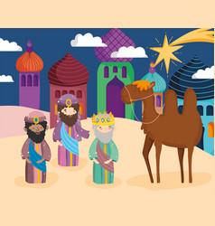 Wise men camel star town desert nativity vector