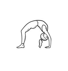woman in yoga bridge pose hand drawn outline vector image